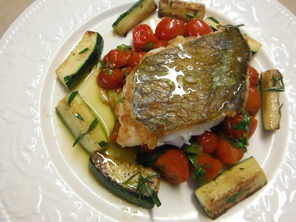 Crispy-skinned Fish with Tomato Salsa