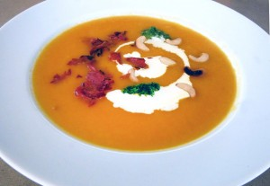 Carrot and Ginger Soup with Crispy Pancetta and Cashews