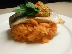 Barramundi with Romesco Sauce & Sweet Potatoes