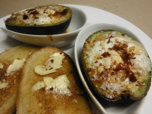 Spicy Baked Eggs in Avocados