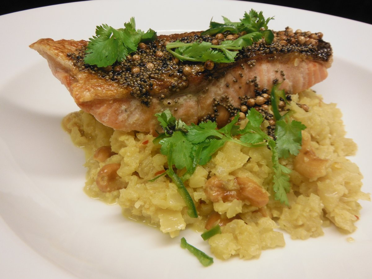 "Pan Fried Salmon with Spicy Cauliflower ""Rice"""