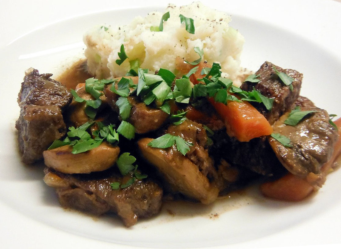 Beef Casserole with Spring Onion Mash