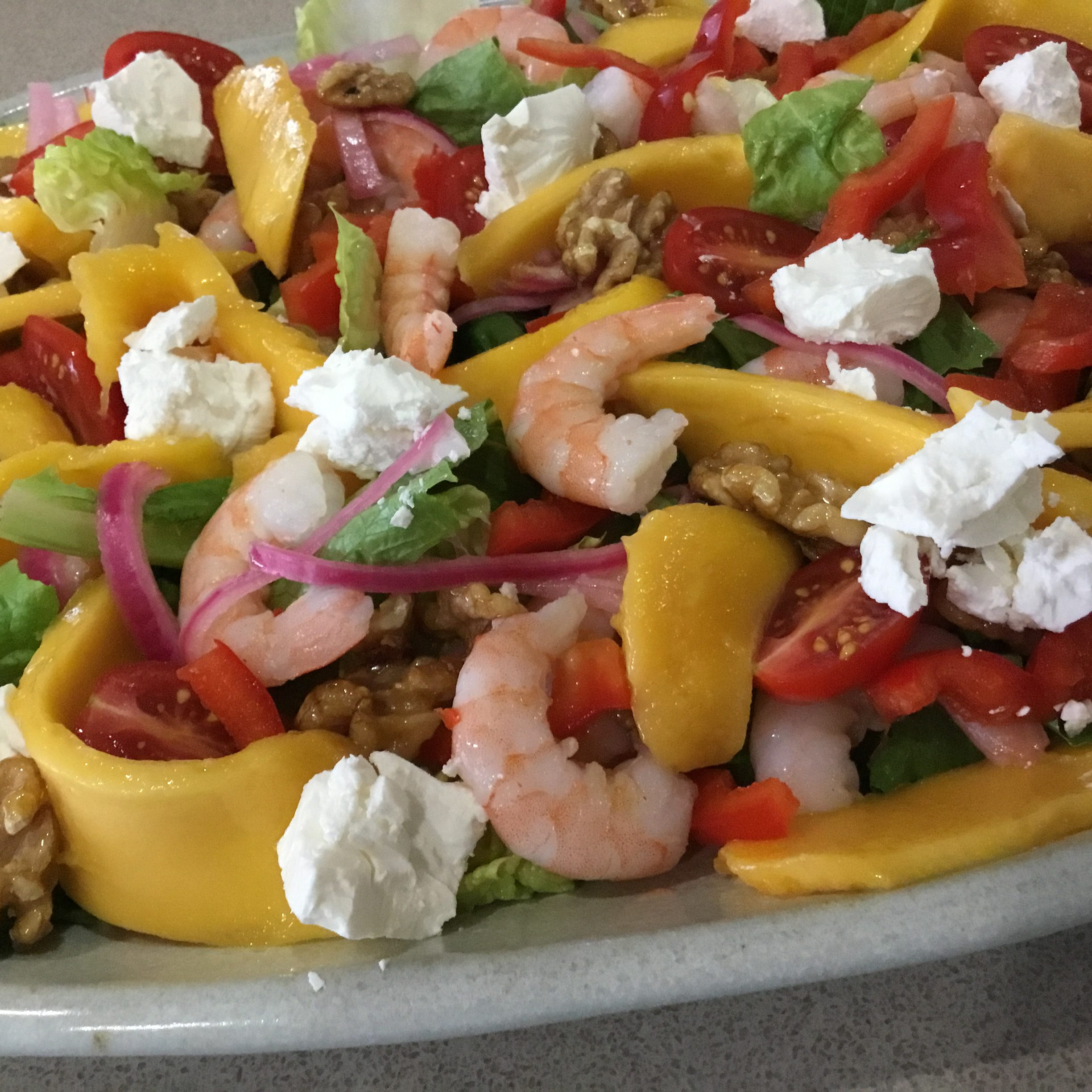 Mango and Prawn Salad with Honey & Walnuts