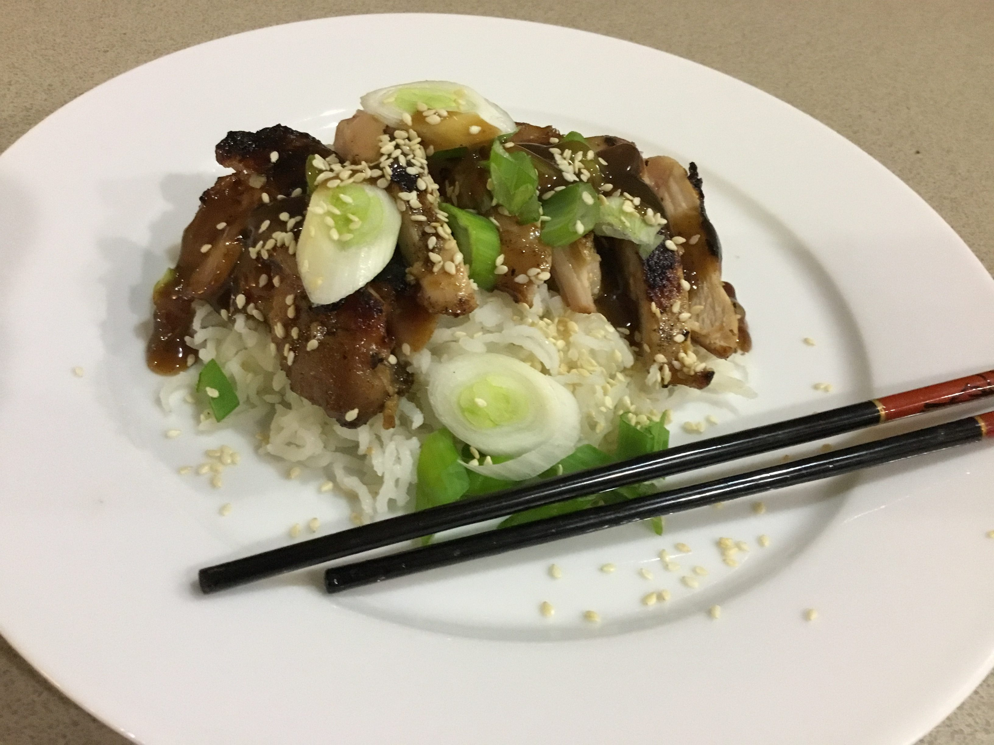 Recipes chicken teriyaki 8 skinless boneless chicken thighs about 1kg marinade cup soy sauce cup sugar 1 tbs grated fresh ginger freshly ground black pepper to taste forumfinder Gallery