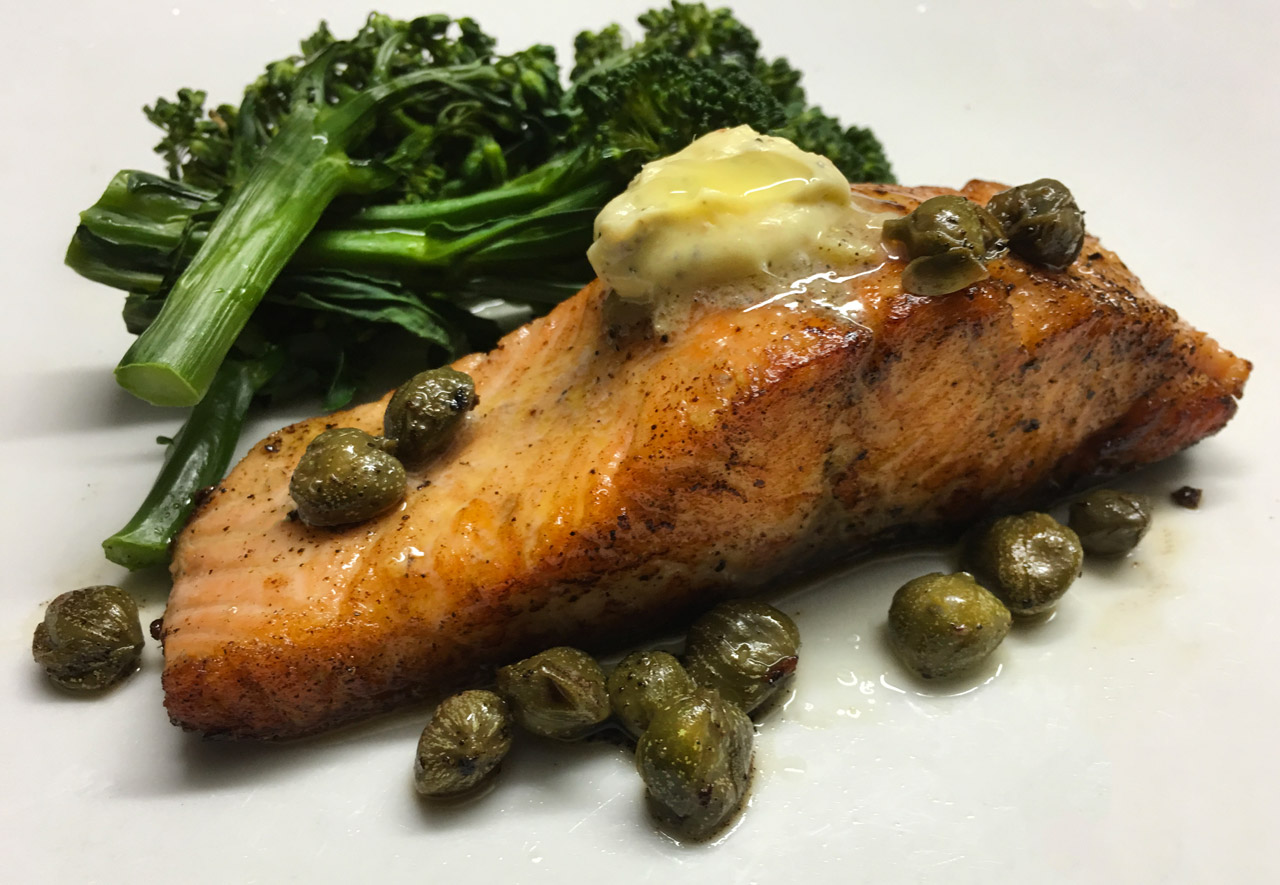 Salmon with Anchovy Garlic Butter and Broccolini