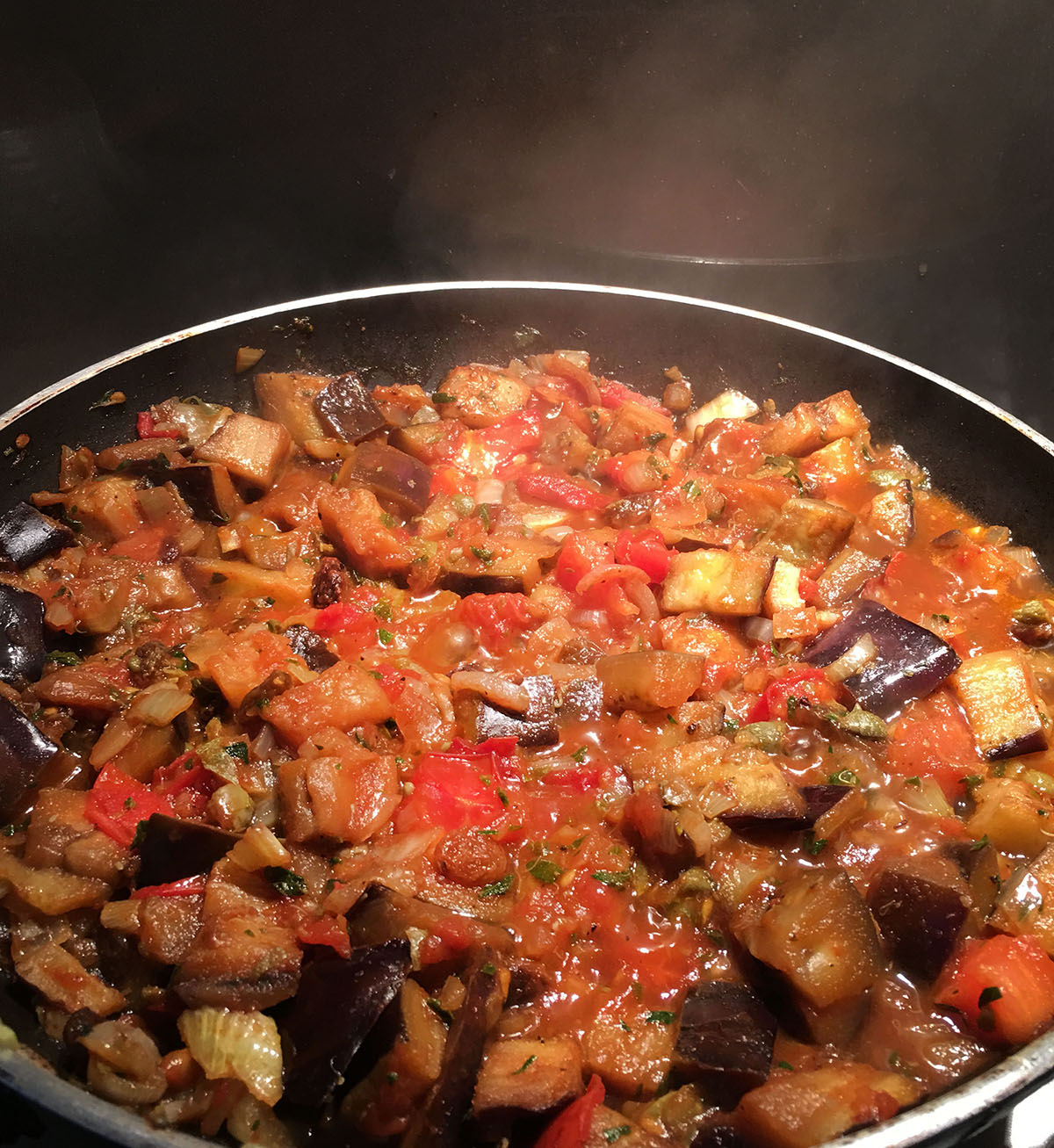 Sicilian Pasta with Eggplant, Pine Nuts and Raisins