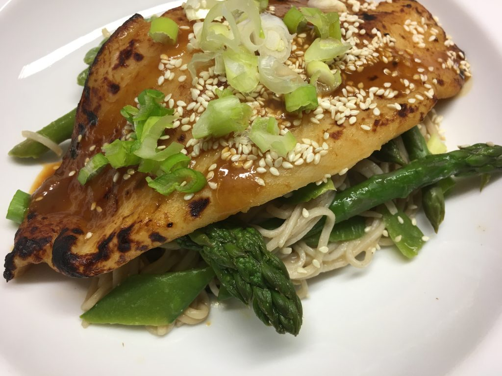 Recipes fish fillets with miso soba noodles asparagus for Miso sauce for fish