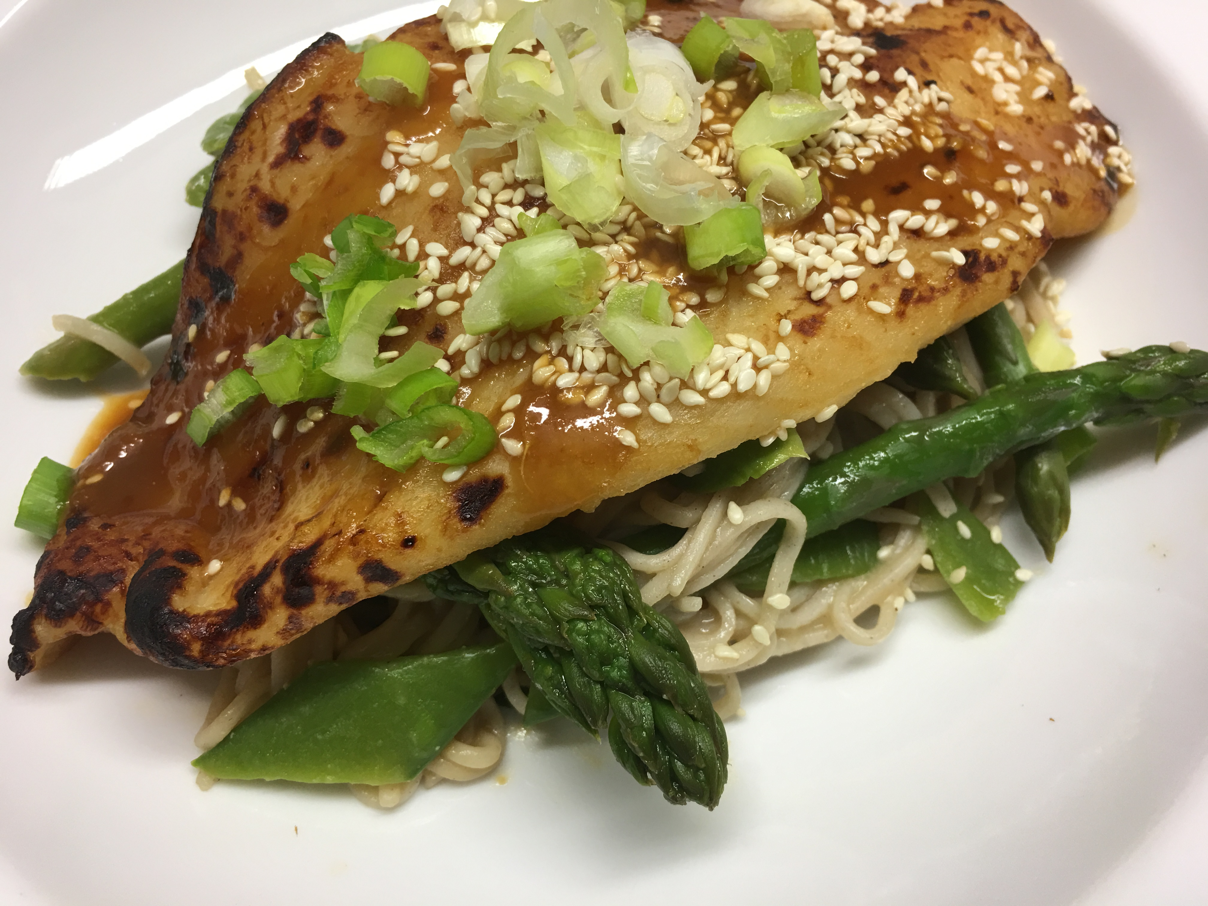 Fish Fillets with Miso, Soba Noodles & Asparagus