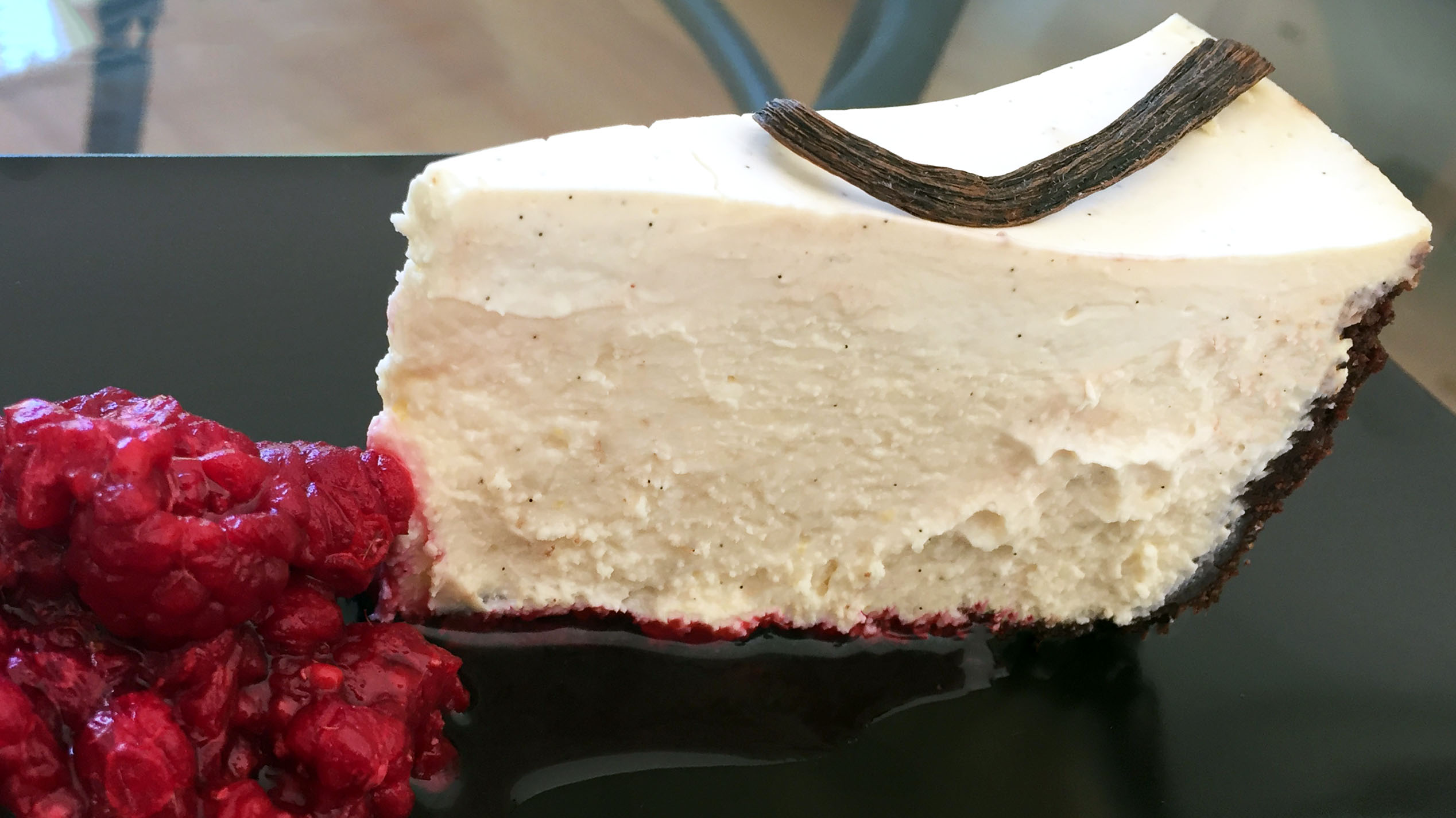 Chocolate & Vanilla Cheesecake with Raspberries