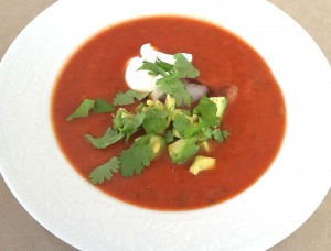 Quick gazpacho for two