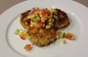 Prawn Cakes with Corn Salsa