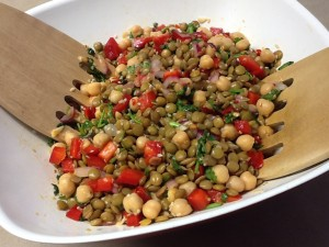 Spicy Lentil and Chick Pea Salad