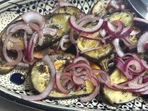 Baby Eggplants with Pickled Red Onions