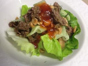 Satay Beef in Lettuce Cups