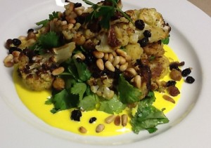 Moroccan Cauliflower Salad with Yoghurt Dressing