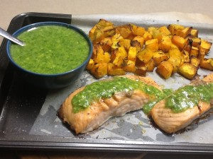 Salmon with Pumpkin and Almond Pesto