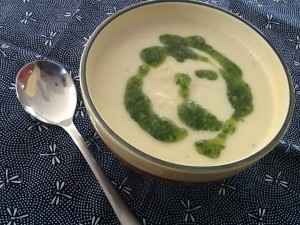 Cauliflower & Stilton Soup with Pesto