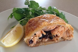 Salmon in Pastry with Currants and Ginger
