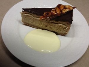 Chocolate Peanut Butter Cheesecake with Salted Peanut Brittle