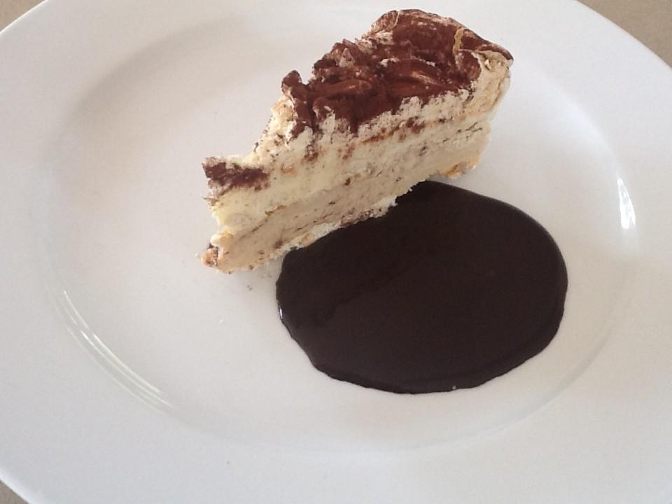 Recipes: Coffee & Halva Ice Cream Cake with Hot Chocolate Sauce
