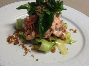 Salmon with Cucumber and Asian Dressing