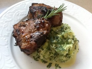 Quick Lamb Chops and Zucchini with Tarragon & Sour Cream