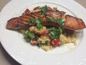 Salmon with Couscous and Cherry Tomatoes