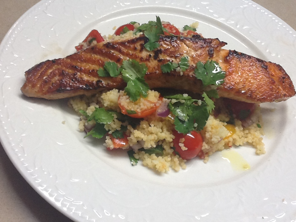 Recipes: Salmon with Couscous and Cherry Tomatoes
