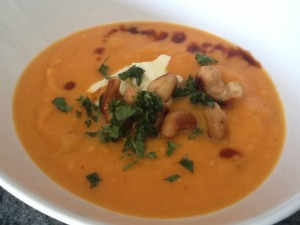 Sweet Potato Soup with Buttered Cashews