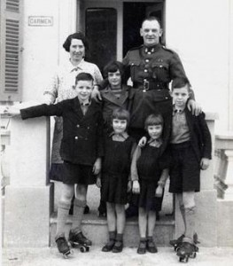 Major and Mrs H.W. Staples, and their four children - Pat, Edwin, Margaret and Daphne outside their home, Dragona, shortly after their arrival on Malta in January 1939.