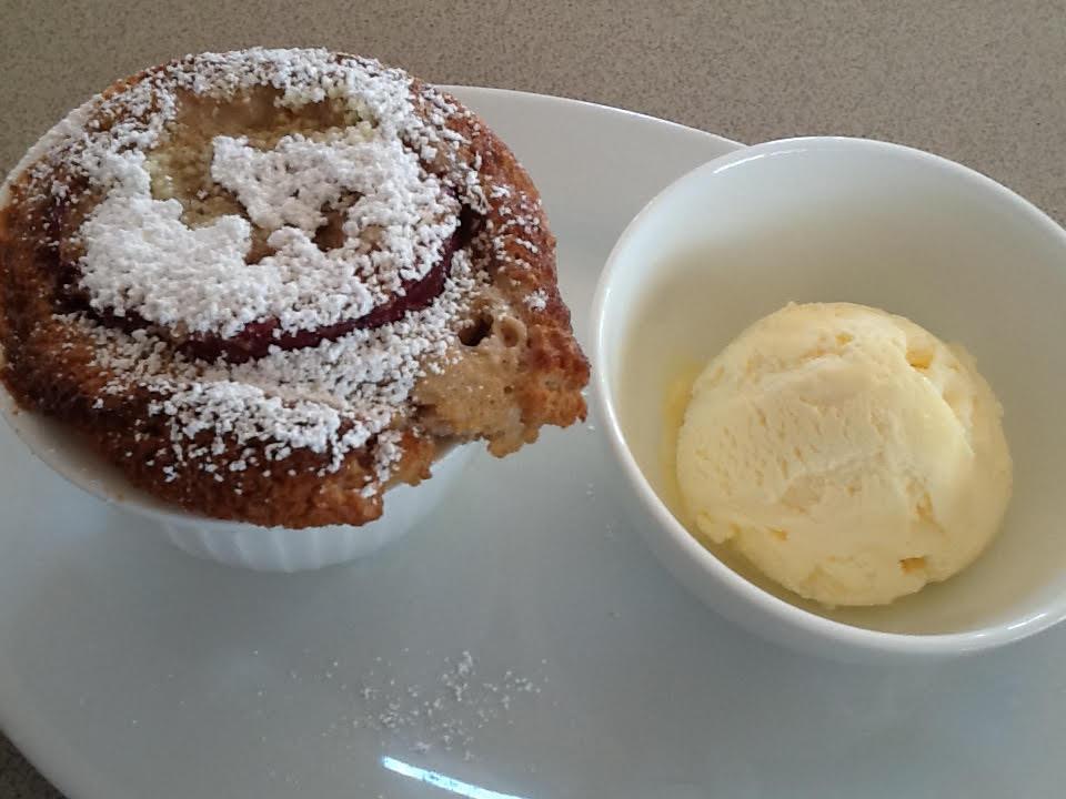 Plum Puddings with Vanilla Ice Cream