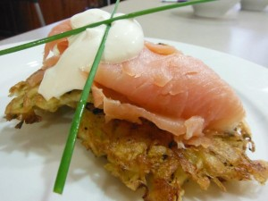 Potato Cakes with Smoked Salmon & Sour Cream