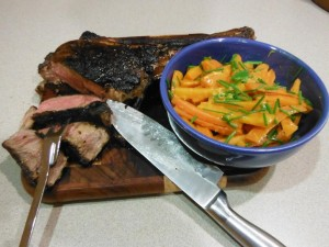Tomahawk Steak with Whisky-Glazed Carrots