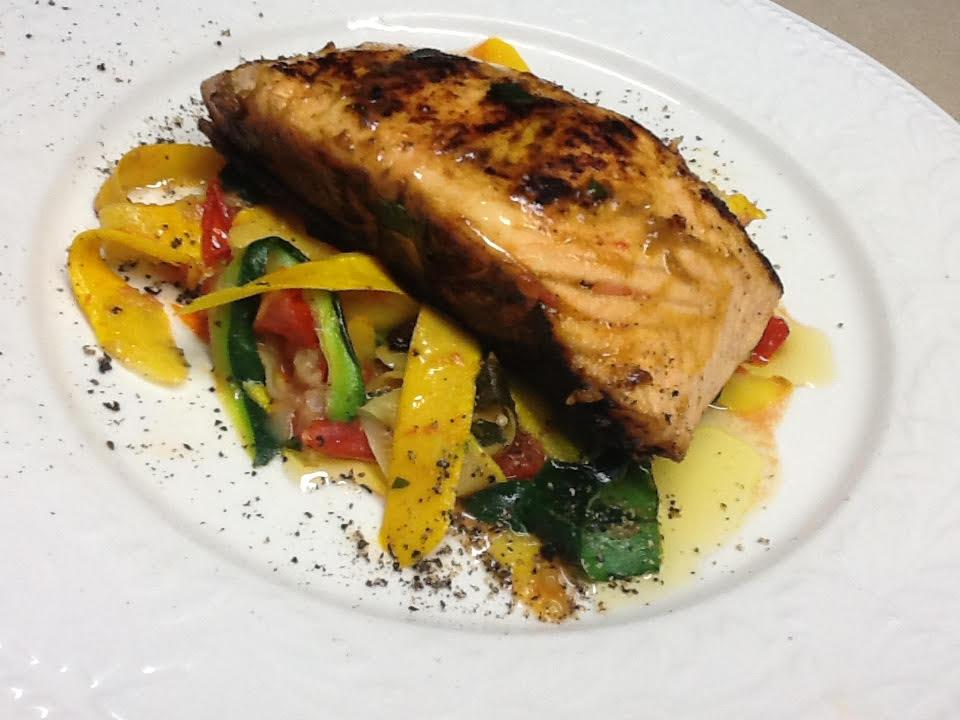Mustard-Glazed Salmon with Zucchini Ribbons