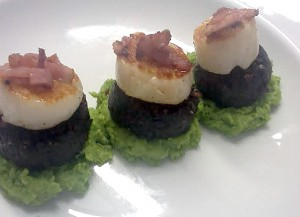 Black Pudding with Scallops, Pea Puree and Crispy Bacon